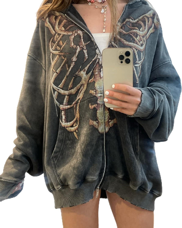 Women Zip Up Hoodie Y2K Aesthetic Sweatshirts Top 90S Long Sleeve Graphic Aesthetic Oversized Jacket Tracksuit