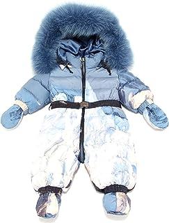 MANUDIECI 0925Z Completo Tuta Sci Girl Bimba Real Fur Padded Snowsuit