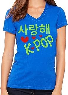 I Love K-Pop In Korean Language Woman - V Neck T-Shirt