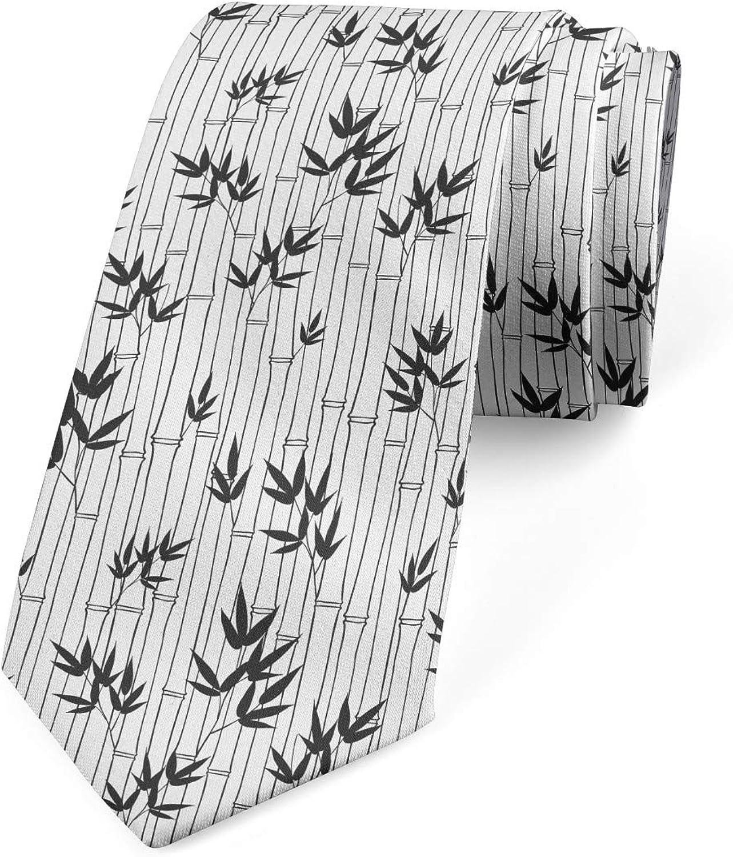 Ambesonne Men's Tie, Chinese Forest Design, Necktie, 3.7