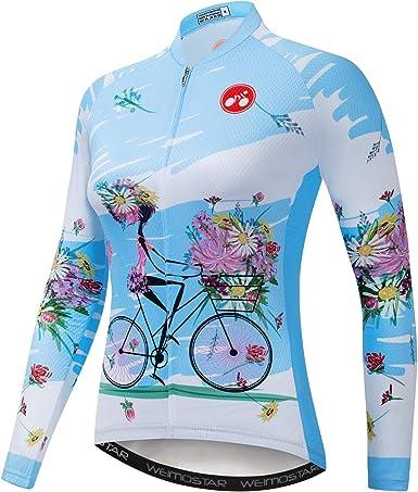 Mujeres Ciclismo Jersey manga larga flores camisa equipo bicicleta ropa
