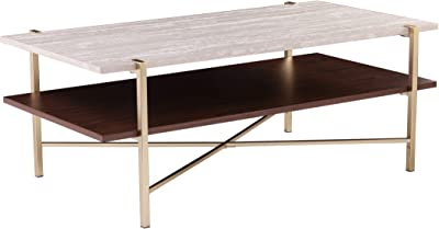 SEI Furniture Ardmillan Two-Tier Faux Marble Top Rectange Coffee Table, Brass, Dark Tobacco, White