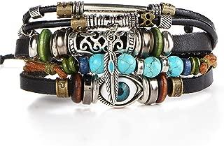 Romanly Nice 17 KM Design Turkey Eye Bracelet Men's Women's Wristband Women's Leather Bracelet Stone Vintage Jewelry