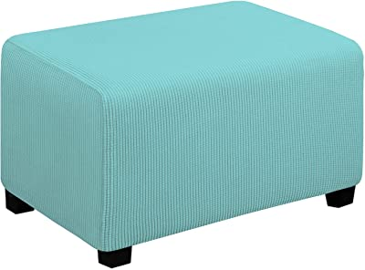 Easy-Going Stretch Ottoman Cover Folding Storage Stool Furniture Protector Soft Rectangle slipcover with Elastic Bottom(Ottoman Small,Light Green)