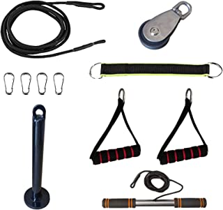 11 Pieces Forearm Wrist Trainer, Pull Down Machine Cable Pulley System Set for Strength Training, Pulldowns, Shoulder Bice...