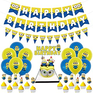 Minions Birthday Party Supplies Includes 12Pcs Minions Balloons,3 Pcs Minions Banner,1Pcs Minions Big Cake Toppers and 12P...