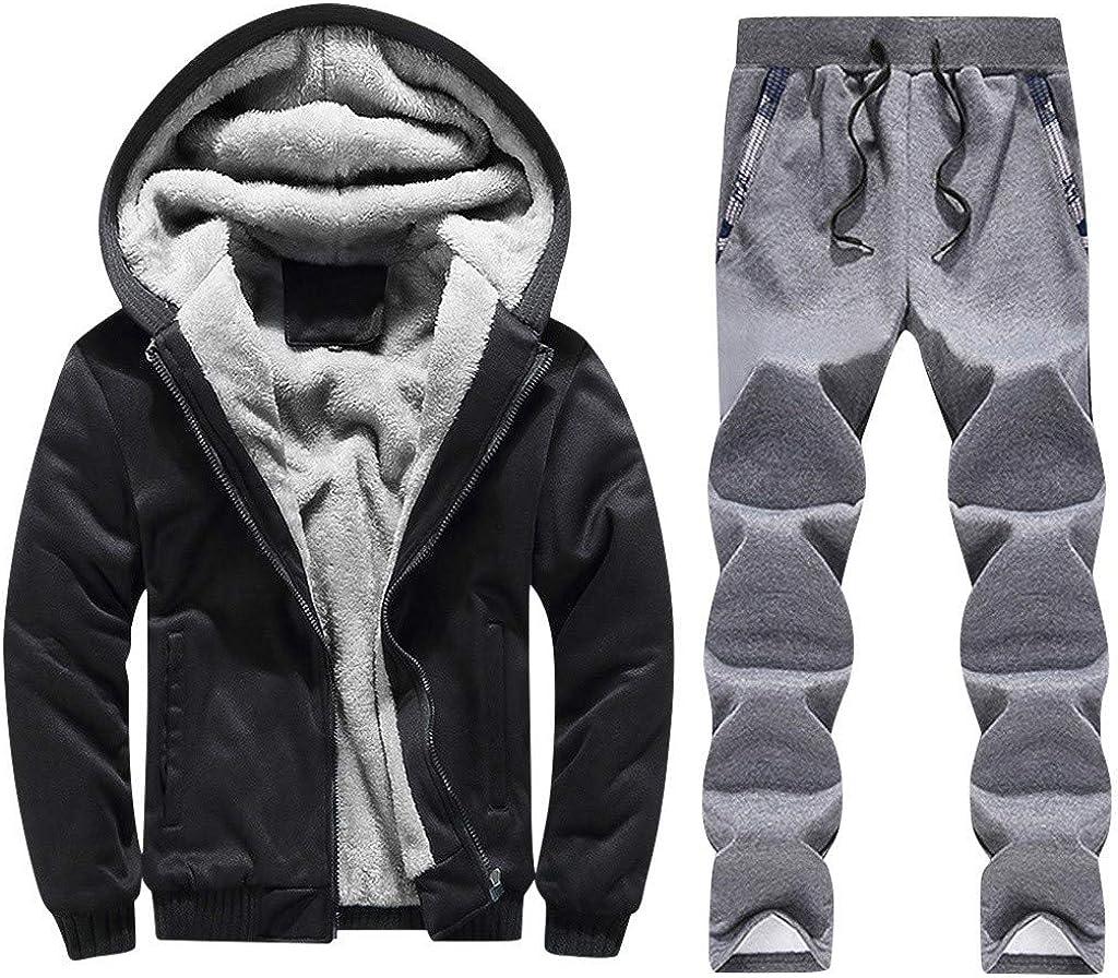 Toimothcn Mens Faux Fur Lined Coat Winter Warm Fleece Hood Zipper Sweatshirt Jacket Outwear