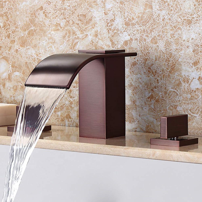 Wasserhahn Wasserfall weit verbreitet l eingerieben Bronze weit verbreitet zwei Griffe drei Lcher