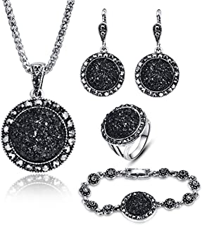 4 Pcs Black Necklace Earring Ring and Bracelet Women Jewellery Round Pendant Diamond Drusy Agate Pendant Jewelry Sets for Women Girls