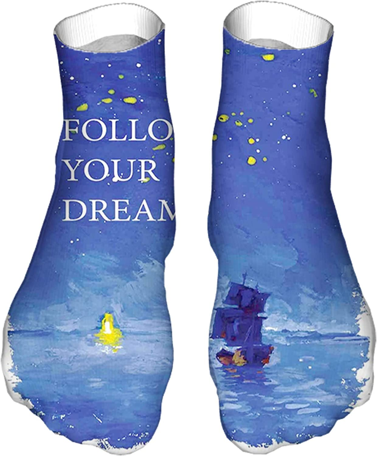 Men's and Women's Fun Socks Printed Cool Novelty Funny Socks,Follow Your Dream Text Ship Sailing Across The Sea Towards