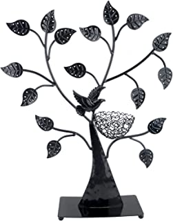 Arad Nature Themed Jewelry Tree 48 Pair Earring Organizer Holder Ring Nest And Necklace Stand Black