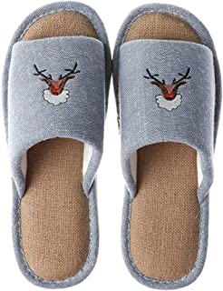 BBJOZ Home Slippers Linen Soles Breathable Sweat-Absorbing Indoor Slippers Slippery Washable Bathing Shoes (Color : Blue, Size : 44-45)
