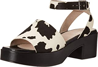 Seychelles Women's Calming Influence Heeled Sandal, black cow Print, 6 M US