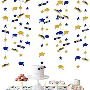 Navy Blue Gold Graduation Decorations 2021 Graduation Hat Diploma Star Garland Banner Bunting Streamer Backdrop for Graduation Party Supplies Classroom Middle High School Grad Home Decor