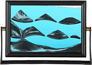 Lily's Home Moving Sand Picture with Spinning Base, Liquid and Sand Filled Art Designed for Display on Desks or Bookshelves, Ideal Gift for Ocean Lovers, Blue Liquid (7