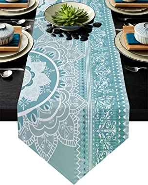 Cloud Dream Home Mandala Sacred Space Geometric Grey and Teal Table Runner for Morden Greenery Garden Wedding Party Table Set