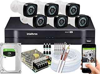 Kit DVR Intelbras 8 canais H.265 1TB 6 câmeras Full HD 20m