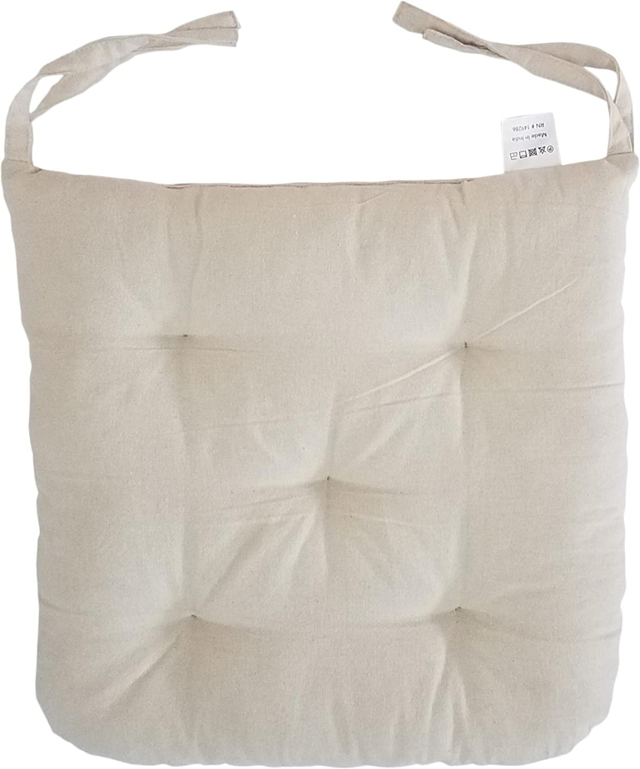 """Cottone 100% Cotton Chair Pads w Ties (Set of 12)   16"""" x 15"""" Round Square   Extra-Comfortable & Soft Seat Cushions   Ergonomic Pillows for Rocking, Dining, Patio, Camping, Kitchen Chairs (Beige)"""