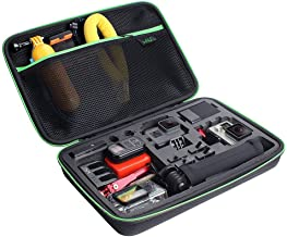 Large Carrying Case for GoPro Hero(2018), Hero 8, 7 Black,HERO6,5,4, LCD, Black, 3+, 3, 2 and Accessories by HSU with Carry Handle and Carabiner Loop - Portable and Shock(Green Logo)