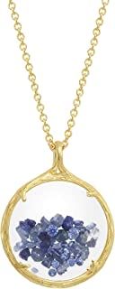 Birthstone Shaker Floating Crystal Stone Necklace (September Sapphire)