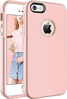 BENTOBEN Funda iPhone SE, Funda iPhone 5S, Funda iPhone 5, Carcasa Combinada 2 en 1 Cover Protección para PC Duro Híbrido Suave Silicona Bumper Resistente Fundas para iPhone SE/5S/5/SE2 - Oro Rosa