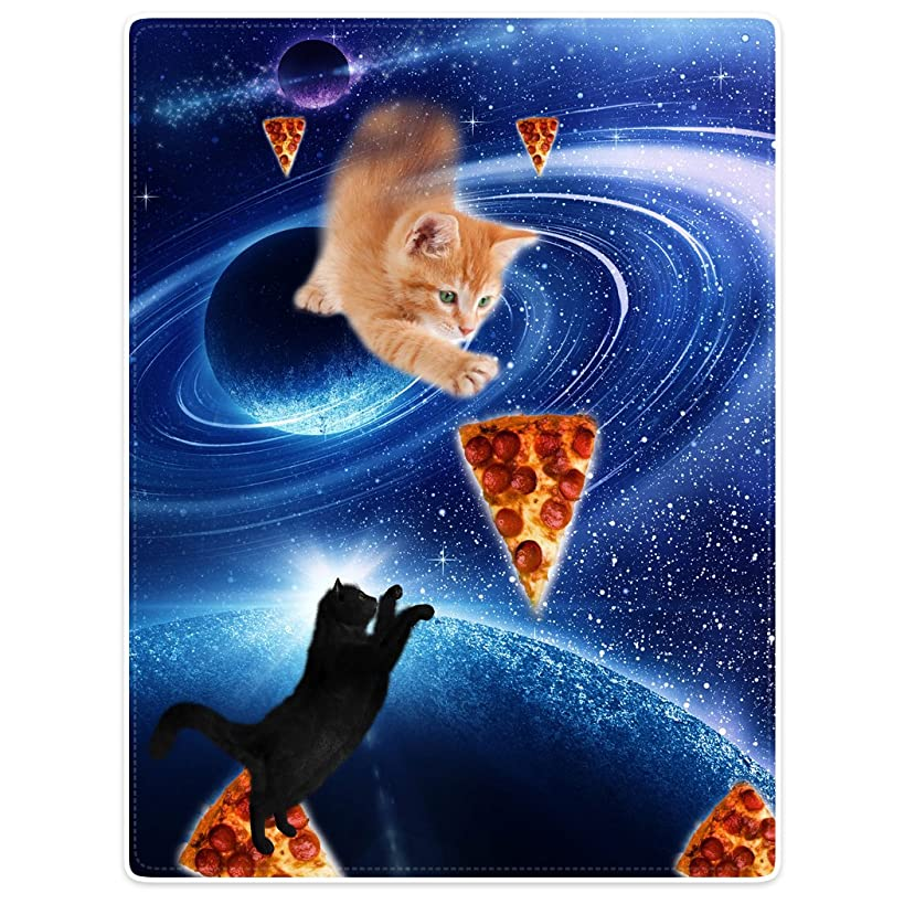 Throw Blankets Fleece Blanket for Sofa Bed Blue Fantasy Galaxy Nebula Funny Cat Pizza 60
