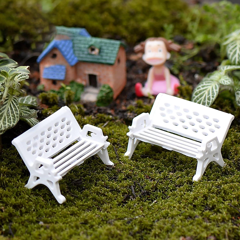 Miniature White Max 49% OFF Park San Antonio Mall Bench Decorative Micro Landscape