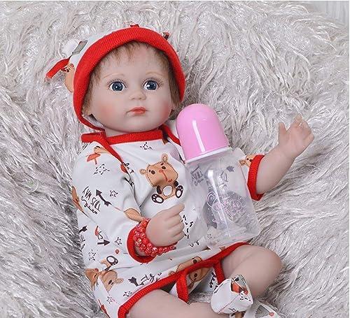 LIDE Reborn Babys Puppe offene Augen mädchen 17 Zoll 43 cm Weiße Silikon Vinyl Magnetismus Kinder Spielzeug Geburtstag Geschenke Neugeborenes Baby Doll