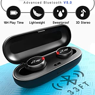 True Wireless Earbuds - Bluetooth Headphones with Charging Case IPX6 Waterproof TWS 16Hr Earphones Stereo Sound & HD Deep Bass Sport in-Ear with Built-in Mic Headset Black JYZZ