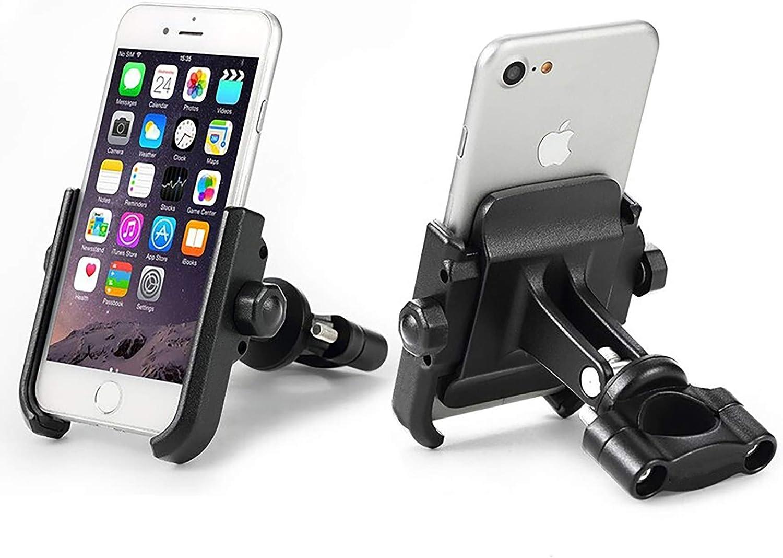 KASER Soporte Móvil Teléfono Smartphone Universal para Moto Bici Scooter en Aluminio 360° Rotación para Móvil Navegador GPS (Manillar Negro)
