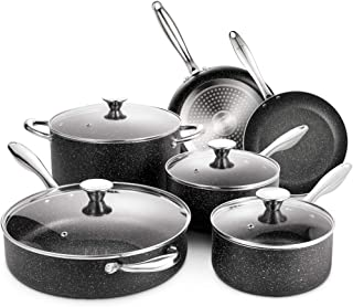 SKY LIGHT Nonstick Cookware Set, 10 Piece Stone-Derived Cooking Pots and Pans with Lids, Home Kitchenware with Saucepan, F...
