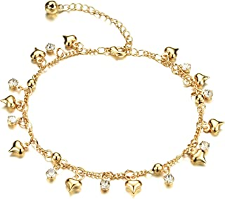 18k Gold Plated Copper Women Anklet Bracelet Chain Lantern/Heart/Bells Pendant Adjustable