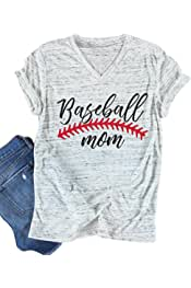 bb7158c75 Baseball Mom T-Shirt Women Letter Print Funny Tops Short Sleeve Casual Tee