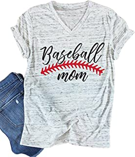 Baseball Mom T-Shirt Women Letter Print Funny Tops Short Sleeve Casual Tee