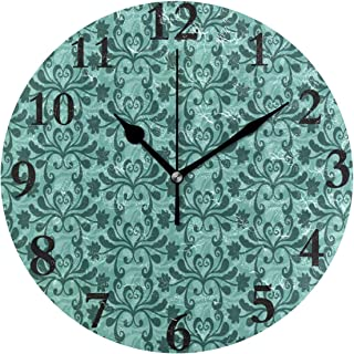 lightly Non Ticking Silent Clock Art Living Room Kitchen Bedroom for Home Decor Free Vector Teal Western Flourish Pattern Round Acrylic Wall Clock