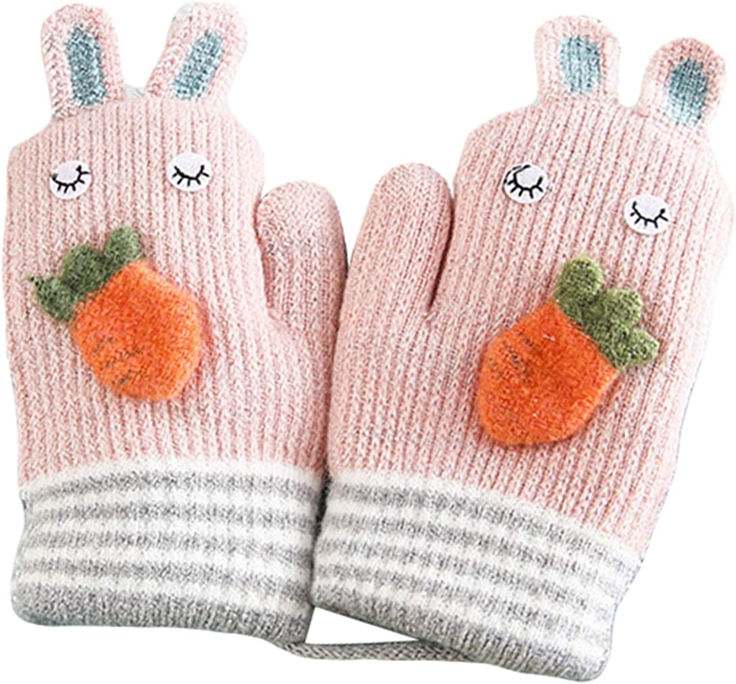 3-5 Years Girls Mittens, Bunny Carrot Lanyard Thermal Kids Cold Weather Gloves for Holiday Season