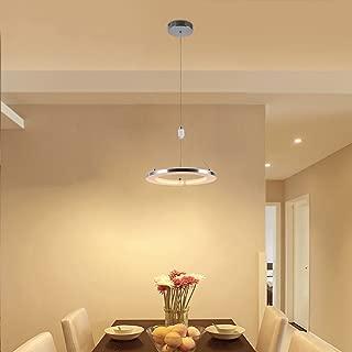 CHYING Modern Pendant Light, Mini LED Chandeliers Ceiling Light, 1-Ring, 15W, Warm White, 3000K, Adjustable Height Hanging Light Fixture for Kitchen Island, Dining Room, Restaurant