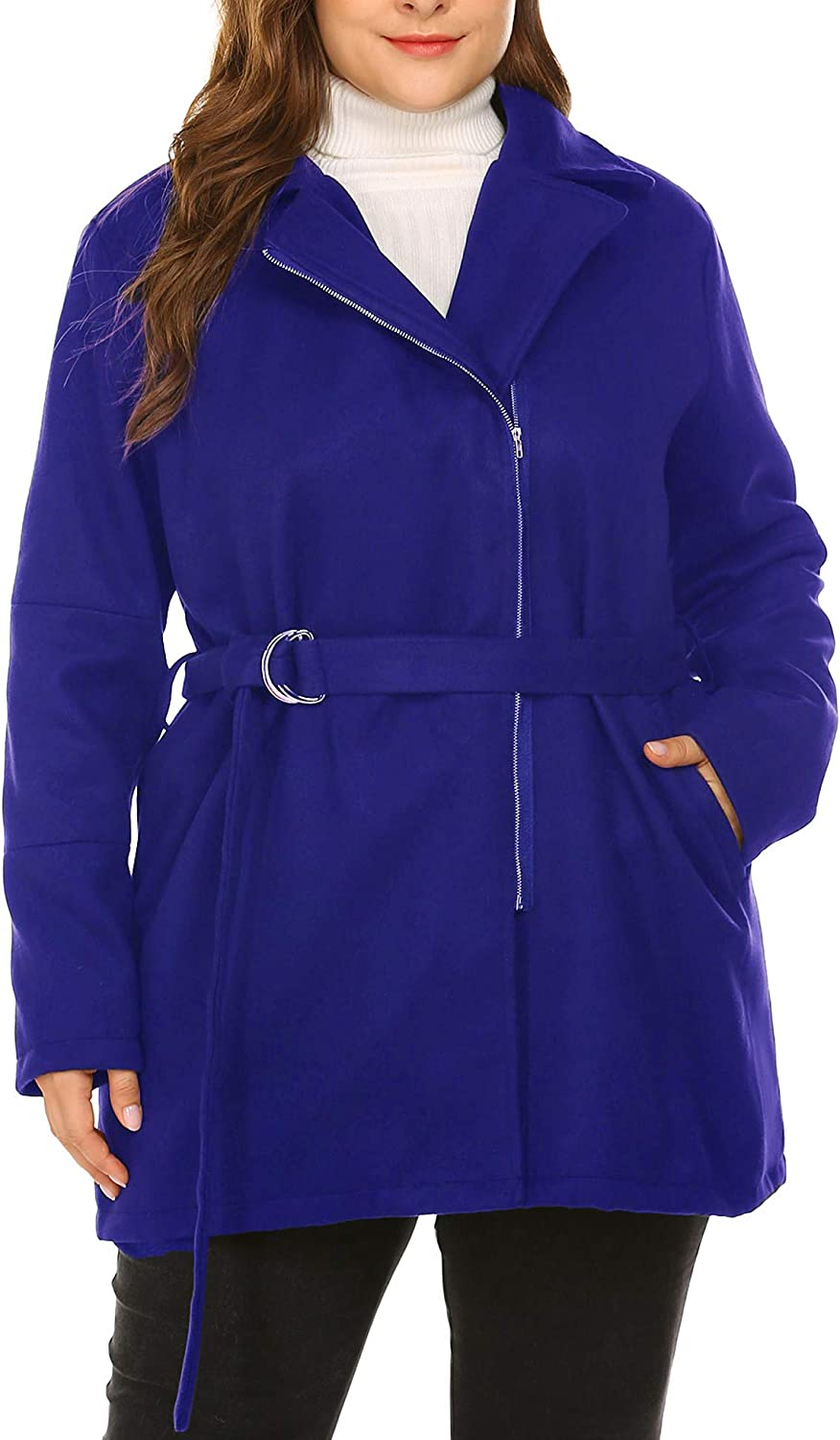Chigant Womens Plus Size Coat Jacket Winter Trench Coat Notched Lapel Double Breasted Zipper Down Jackets Belt Outercoat