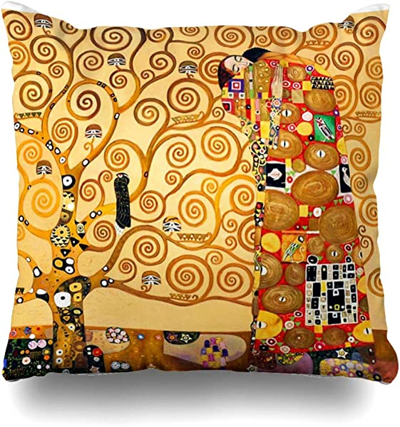 Ahawoso Throw Pillow Cover Square 20x20 Inches Gustav Klimt The Tree Of Life Decorative Pillow Case Home Decor Pillowcase
