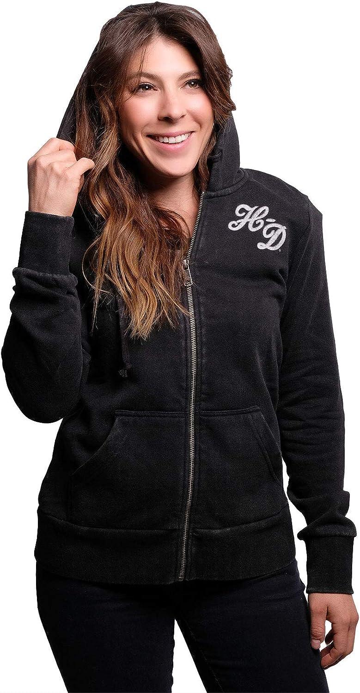 Harley-Davidson Womens Freedom Banner Full Zip Black Long Sleeve Hoodie 98748-20VW