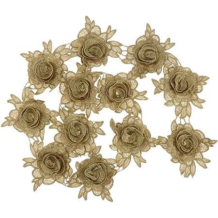Baoblaze Encaje de Ganchillo de Cinta de Boda, Apliques para Vestido, Falda, Camisa, Color Dorado - Flor 2