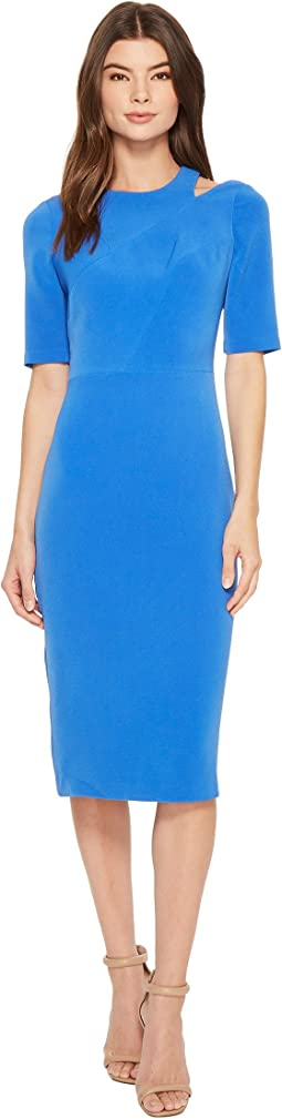 Maggy London - Mini Bark Texture Split Shoulder Sheath Dress