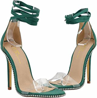 25e483ce8020 Embellished Silver Tone Stud Clear PVC One Band High Heel Gladiator Sandals  for Women