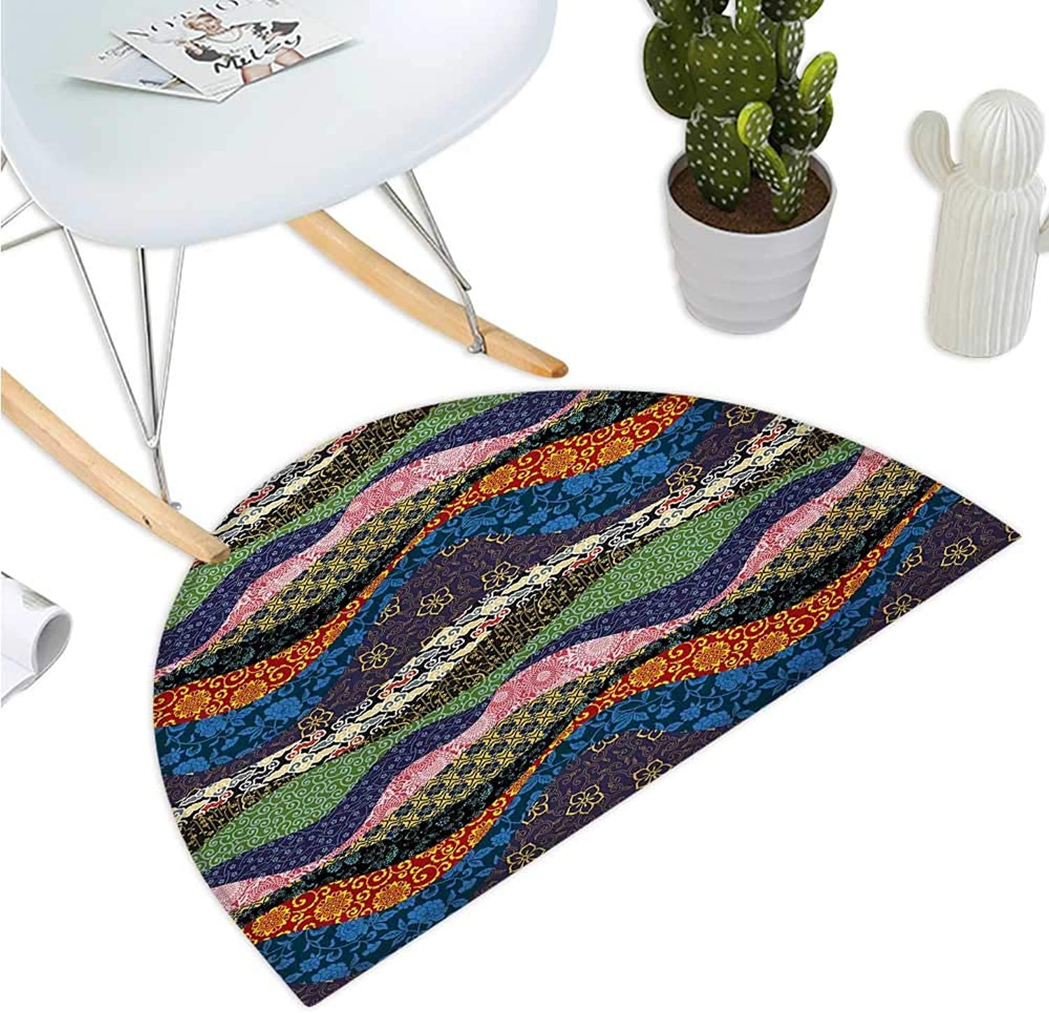 Asian Semicircular Cushion Asian Far Eastern Patchwork with Flowers Floral Pattern in Oriental Style Print Bathroom Mat H 51.1  xD 76.7  Multicolord