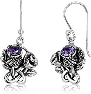 WithLoveSilver 925 Sterling Silver Scottish Thistle Rose Round Simulated Purple Cubic Zirconia Earrings
