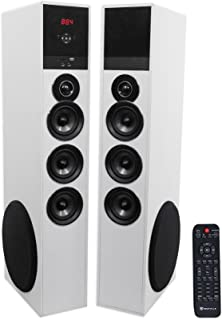 Rockville TM150W White Powered Home Theater Tower Speakers 10