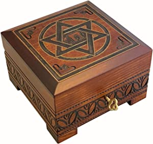 Star of David Wood Jewelry Keepsake Lock Key Box Judaica