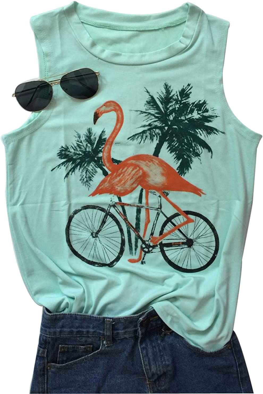 Women's Animal Flamingo Bird Graphic Vest T Tops Tank Branded goods Sleeveless Regular store