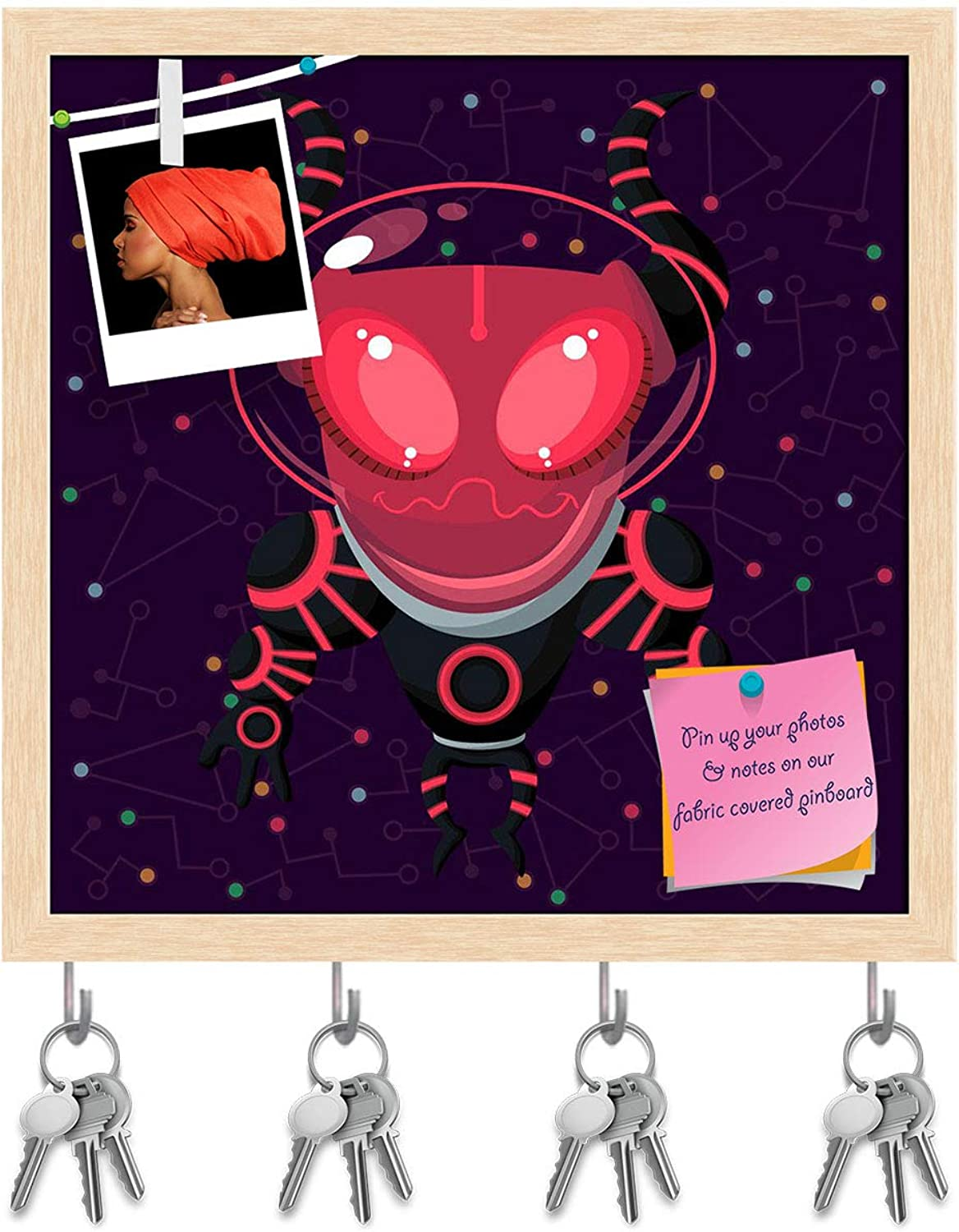 Artzfolio Outer Space D4 Key Holder Hooks   Notice Pin Board   Natural Brown Frame 12 X 12Inch