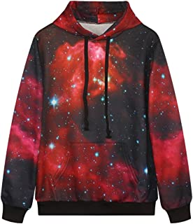 JUDYBRIDAL Fashion Unisex Galaxy Patterns Print Hooded Long Sleeve Sweatshirts